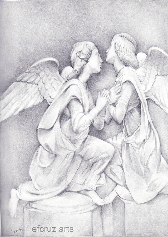 two angels pencil drawing drawing by efcruz arts