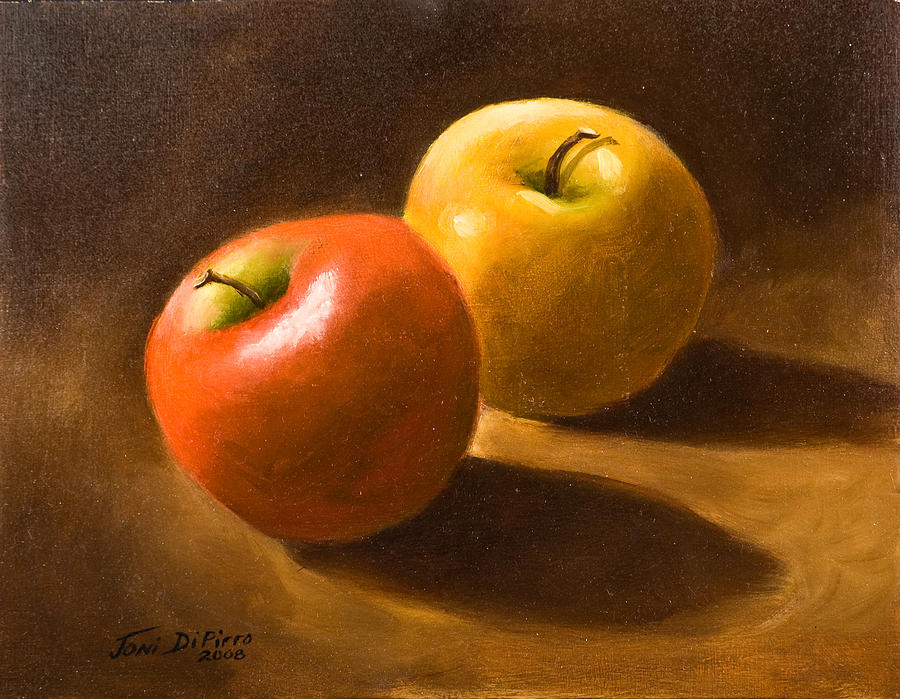 Two Apples Painting by Joni Dipirro