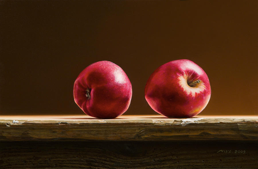 Stillife Painting - Two Apples by Mark Van crombrugge