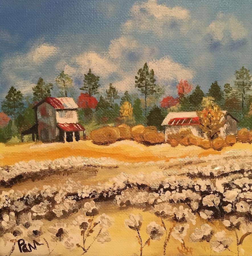 Barns Painting - Two Barns by Pamela Long