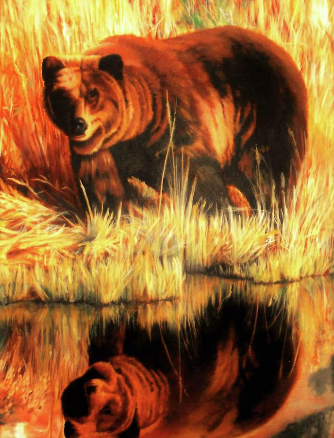 Bears Painting - Two Bears by DC Houle