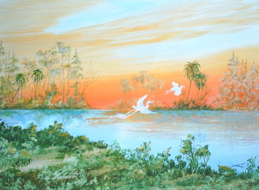 Water Painting - Two Birds by Dennis Vebert
