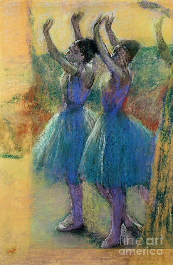 Degas Pastel - Two Blue Dancers by Edgar Degas