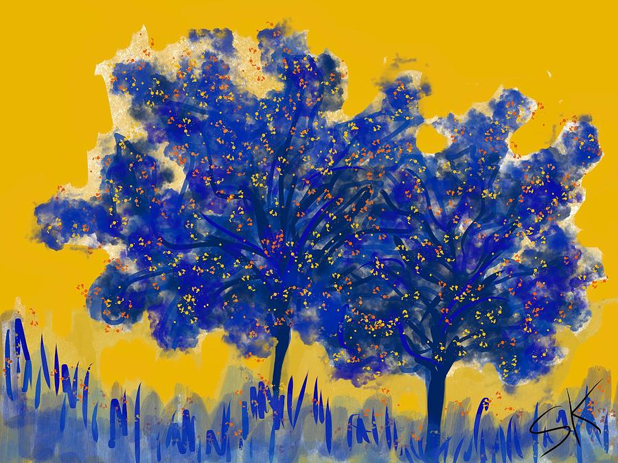 Two Blue Trees by Sherry Killam