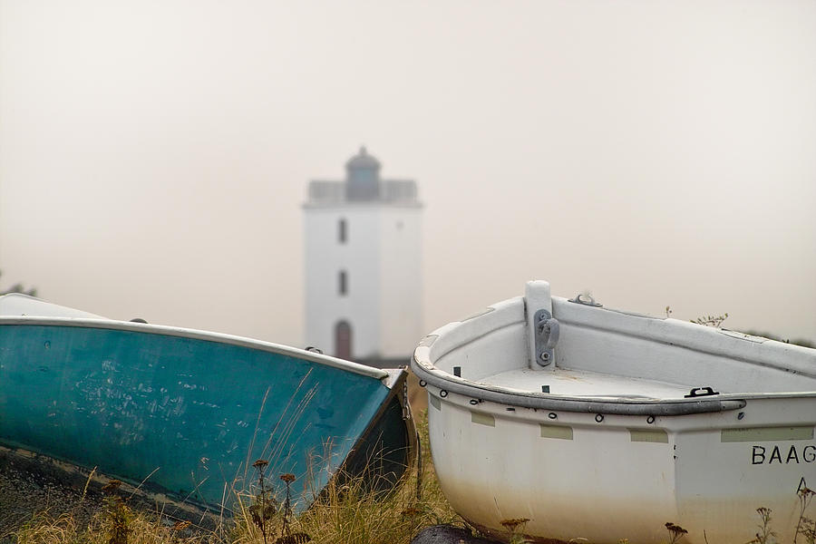 Lighthouse Photograph - Two Boats And A Lighthouse by Robert Lacy