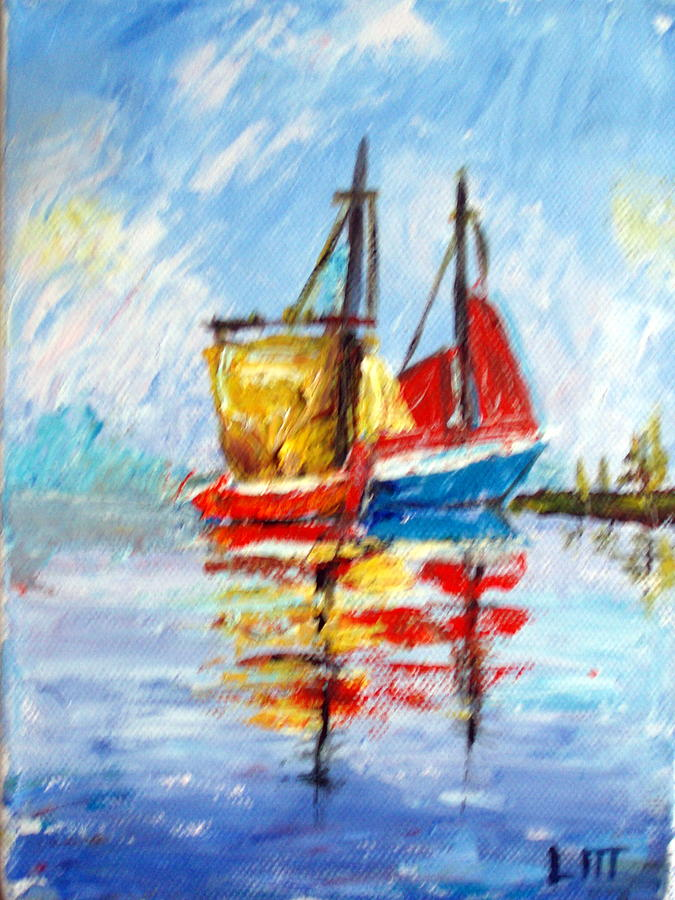 Water Painting - Two Boats by Lia  Marsman