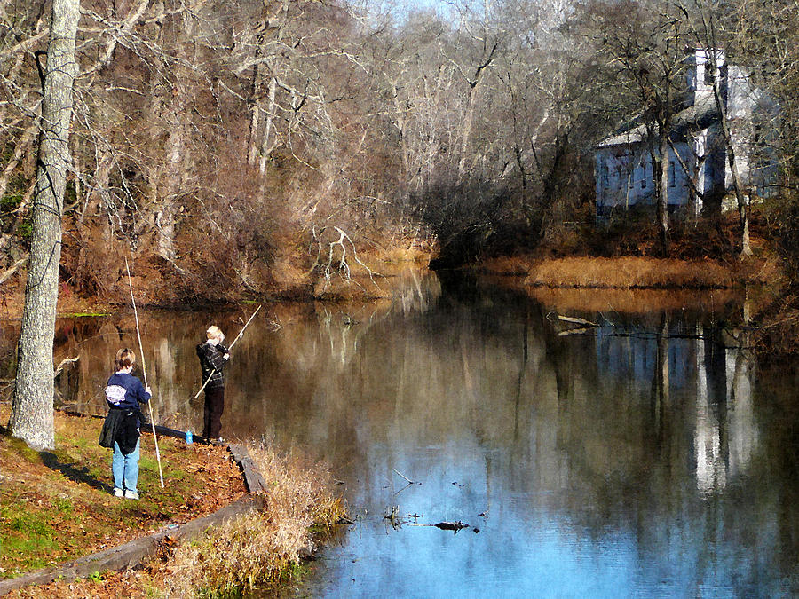 Nature Photograph - Two Boys Fishing by Susan Savad