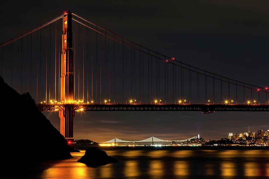 Two Bridges In The Pre-dawn Light Photograph