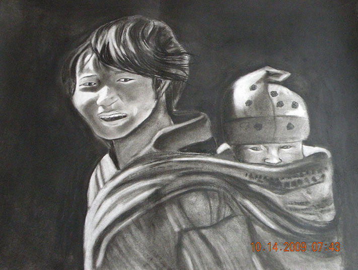 Kids Painting - Two Brothers by Latika Ratawal