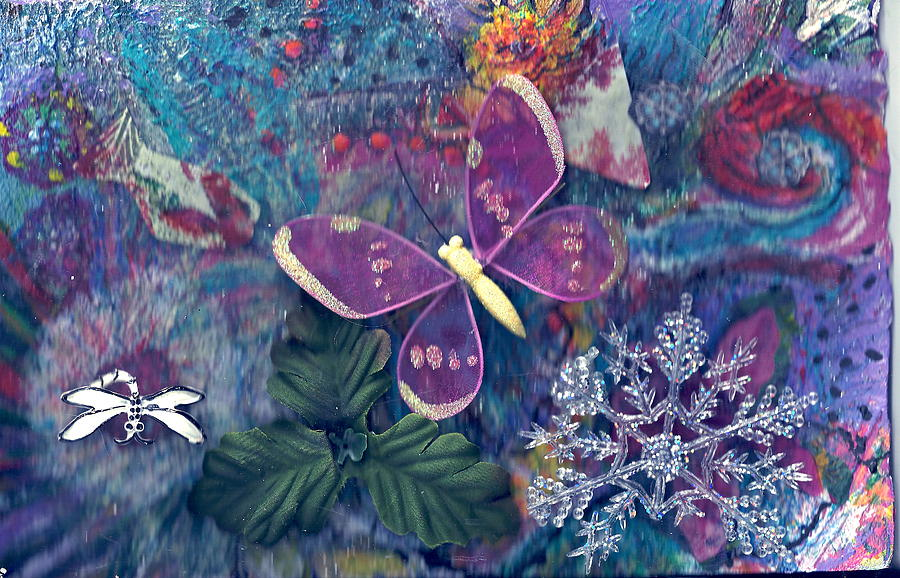 Butterflies Mixed Media - Two Butterflies And A Snow Flake by Anne-Elizabeth Whiteway
