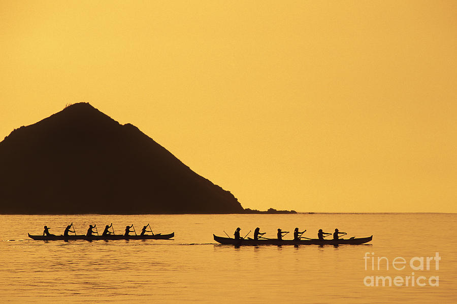 Calm Photograph - Two Canoes Silhouetted by Dana Edmunds - Printscapes