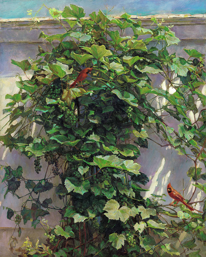 American Painting - Two Cardinals On The Vine Tree by Svitozar Nenyuk