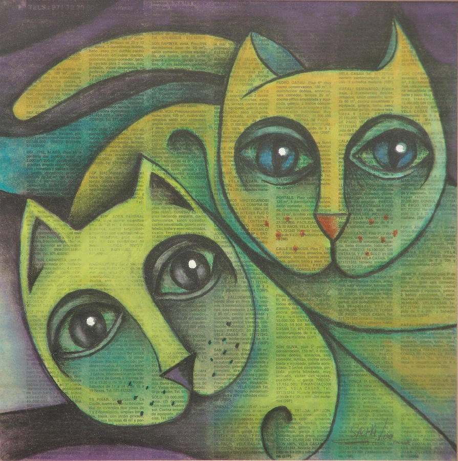 Two Cats  2000 Drawing by S A C H A -  Circulism Technique