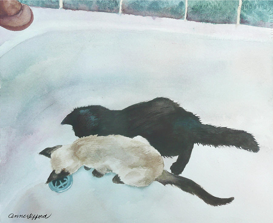 Animal Painting Painting - Two Cats In A Tub by Anne Gifford