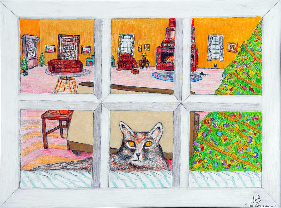Cats Drawing - Two Cats In The Window by Larry Oldham