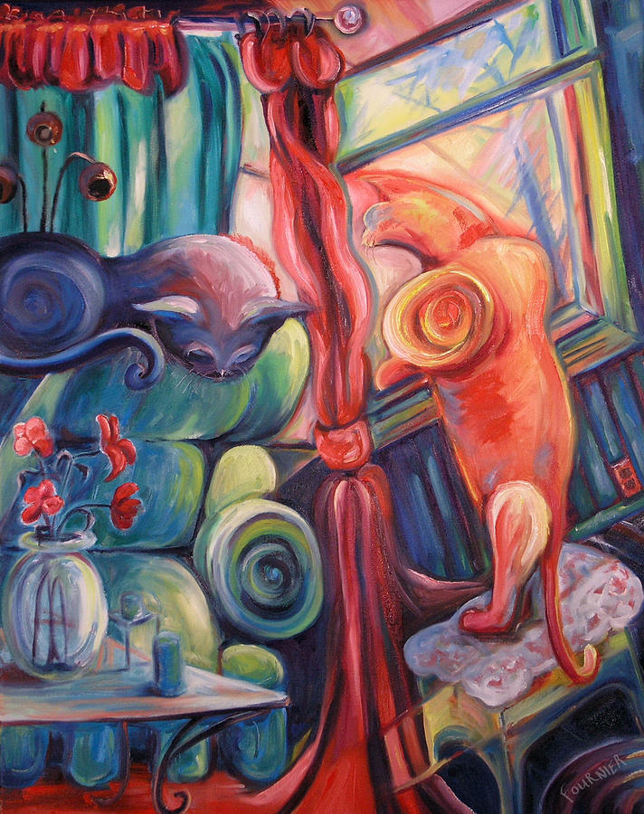 Cats Painting - Two Cats by Jenna Fournier