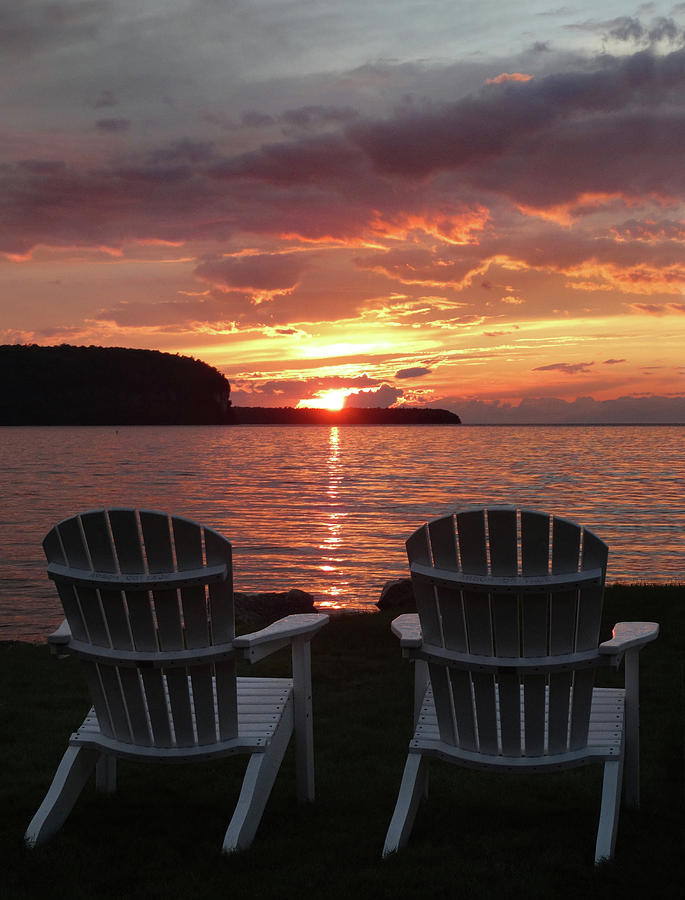 Two Photograph - Two Chair Sunset by David T Wilkinson
