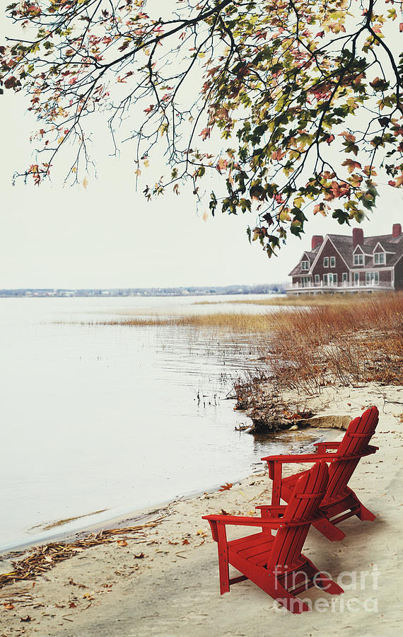 Atmosphere Photograph - Two Chairs By The Lakes Edge In Autumn by Sandra Cunningham