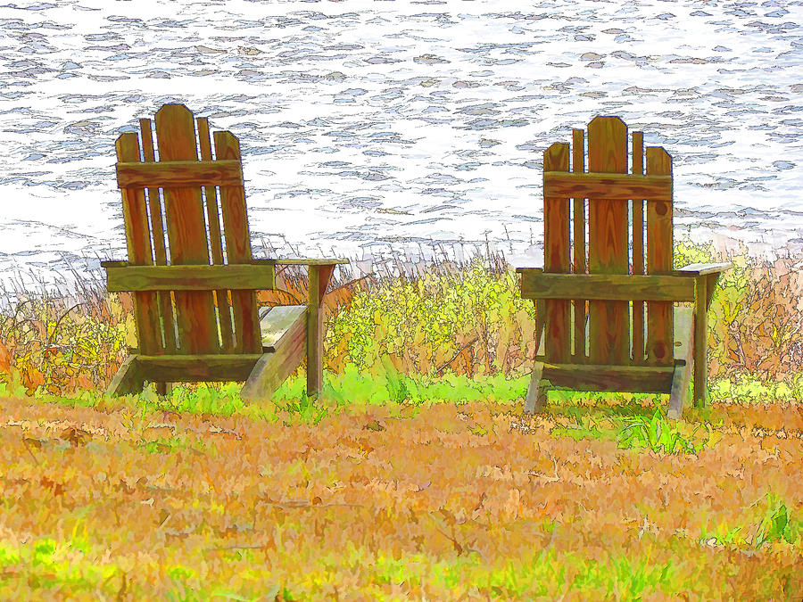 Lake Painting - Two Chairs Facing The Lake by Lanjee Chee