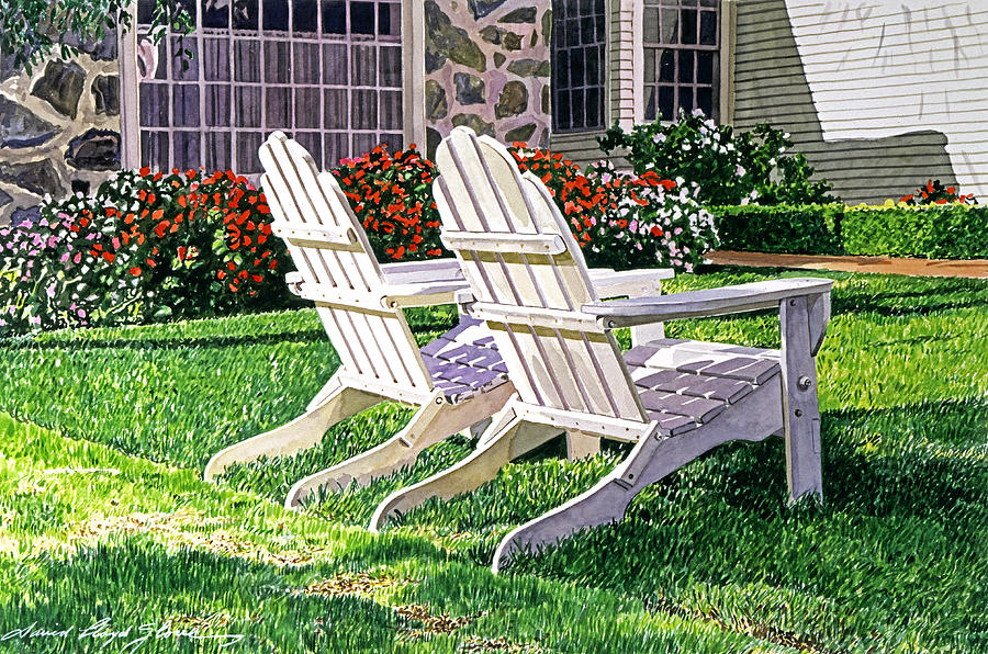 Adirondack Chairs Painting - Two Chairs On Carmelina by David Lloyd Glover