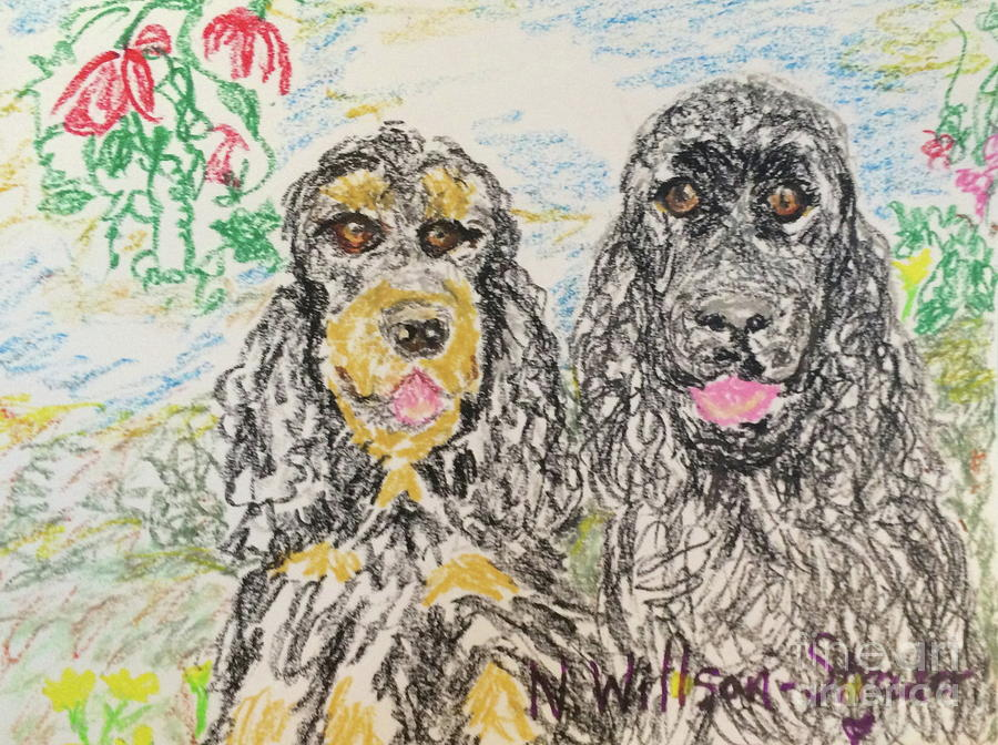 Cocker Drawing - Two Cockers by N Willson-Strader