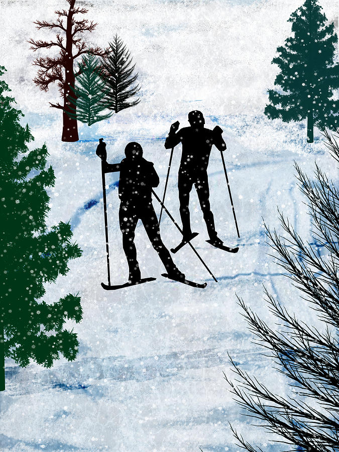 Ski Painting - Two Cross Country Skiers In Snow Squall by Elaine Plesser