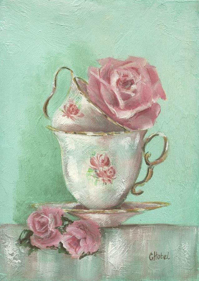 Roses Painting - Two Cup Rose Painting by Chris Hobel