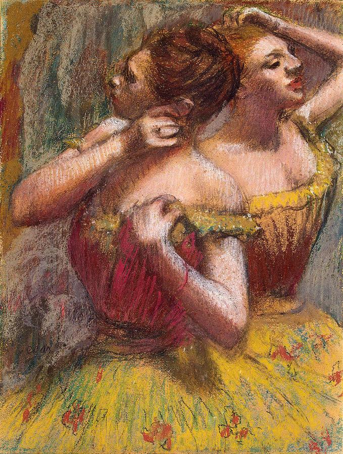 Degas Pastel - Two Dancers by Edgar Degas
