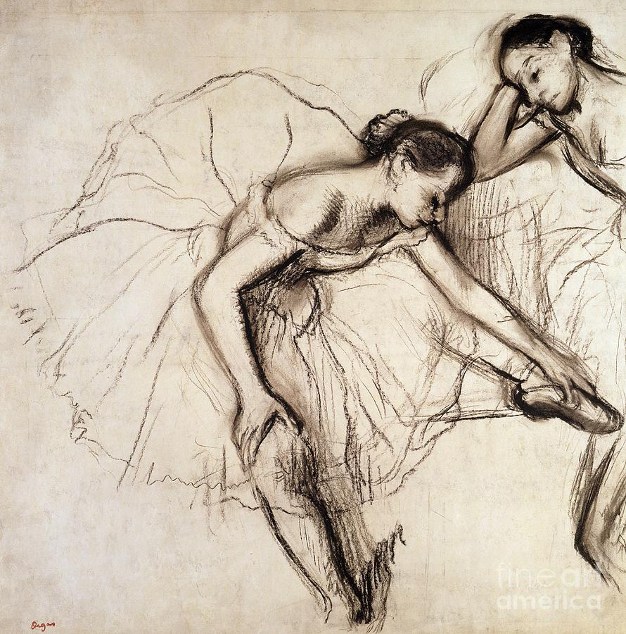 Degas Drawing - Two Dancers Resting by Edgar Degas