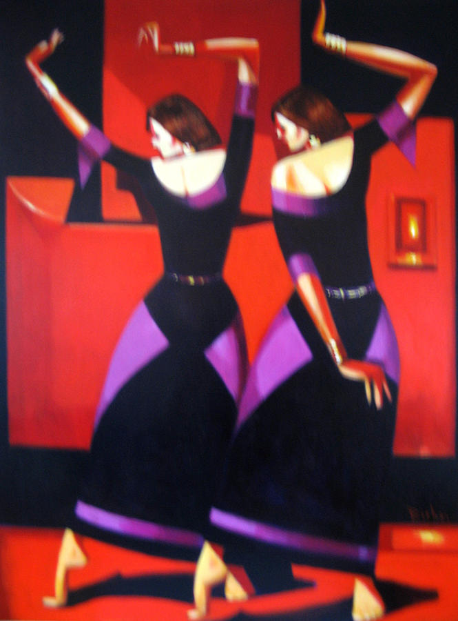 Figure Painting - Two Dancers With Candlelight by Ihab Bishai