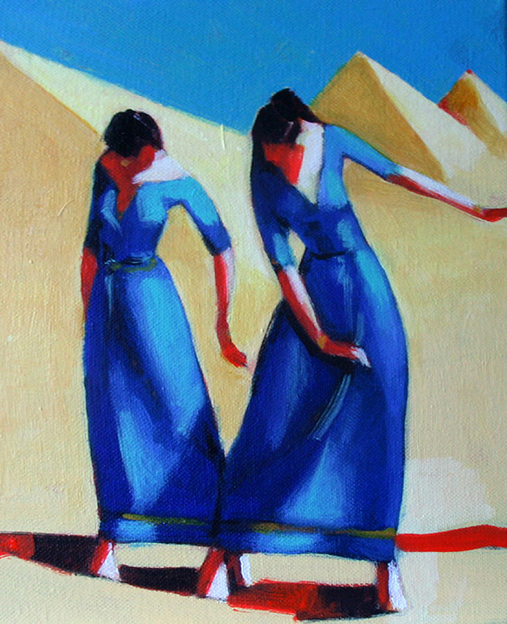 Figure Painting - Two Dancers With Three Pyramids by Ihab Bishai