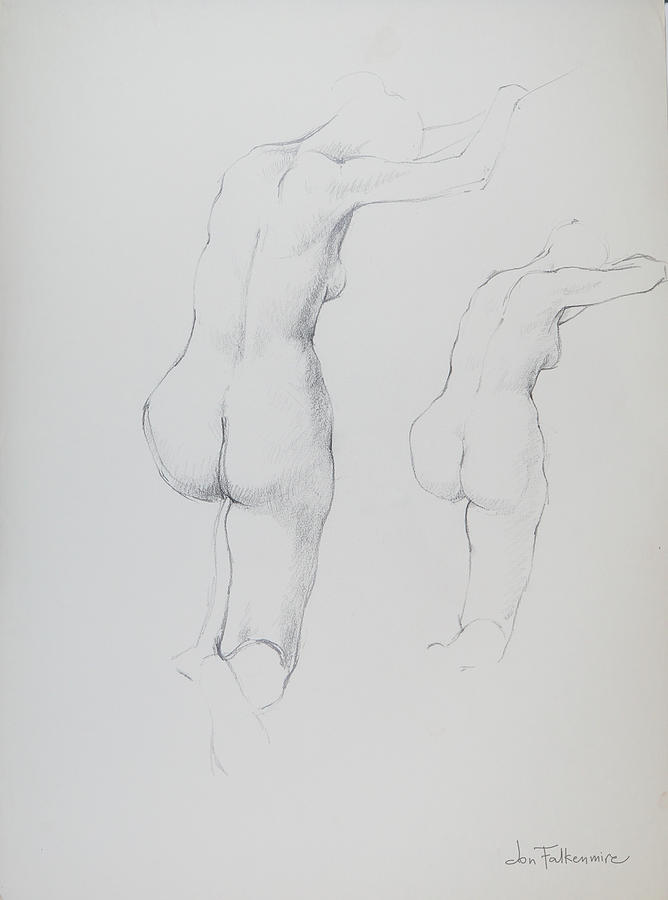 Two Drawings Of Female Kneeling On Right Knee And Resting On Raised Arms, Student Work. Drawing