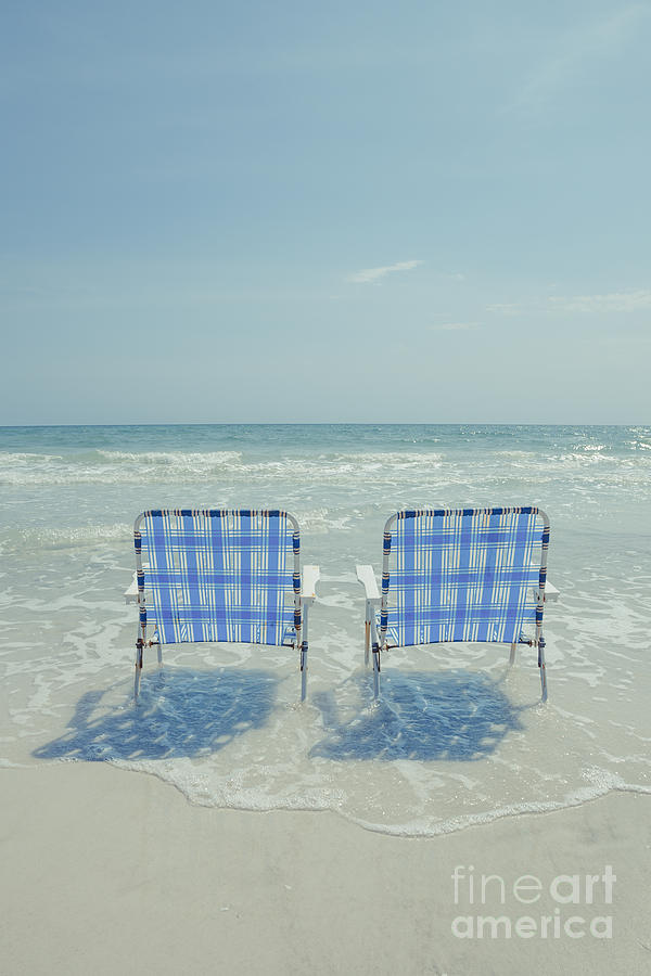 Beach Photograph - Two Empty Beach Chairs by Edward Fielding