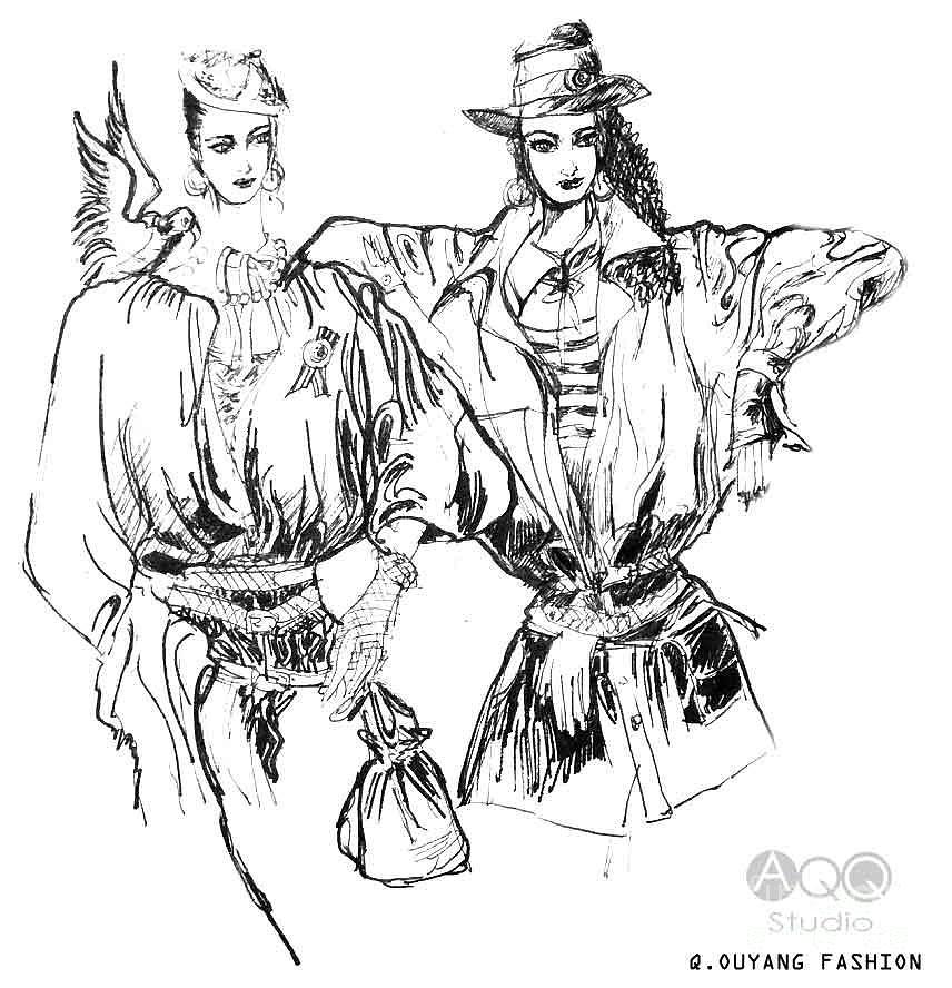 Two Fashion Girls by QQ Ouyang