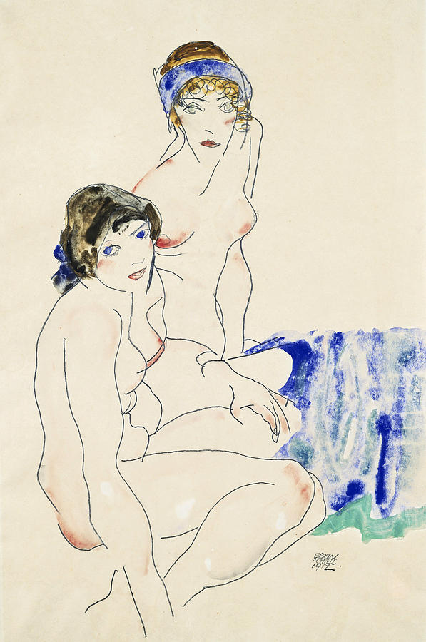 Egon Schiele Drawing - Two Female Nudes By The Water by Egon Schiele
