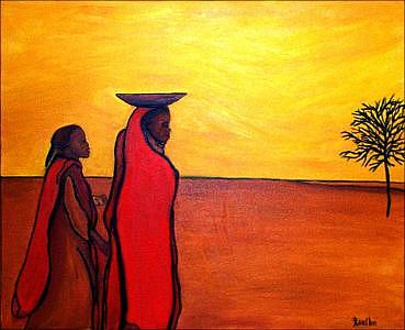 Cultural Painting - Two Figures In Red by Jude Rouslin