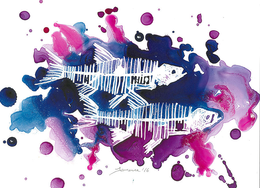 Fish Painting - Two Fish by Mike Lawrence