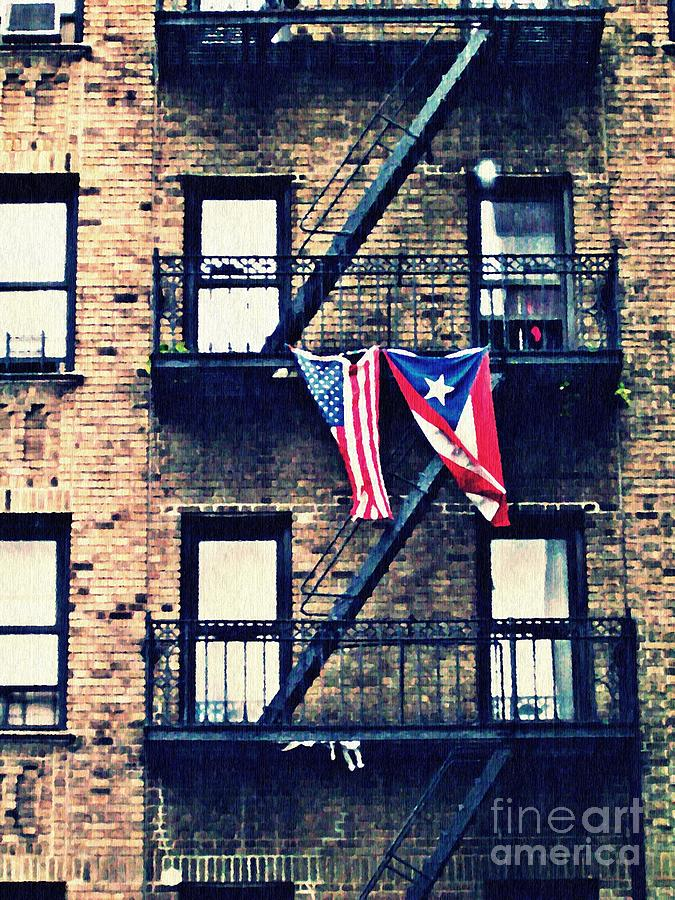 Flag Photograph - Two Flags In Washington Heights by Sarah Loft
