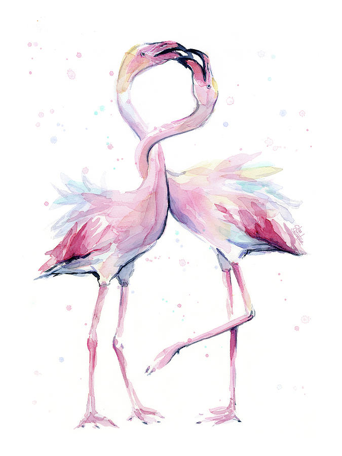 Flamingos Painting - Two Flamingos Watercolor Famingo Love by Olga Shvartsur