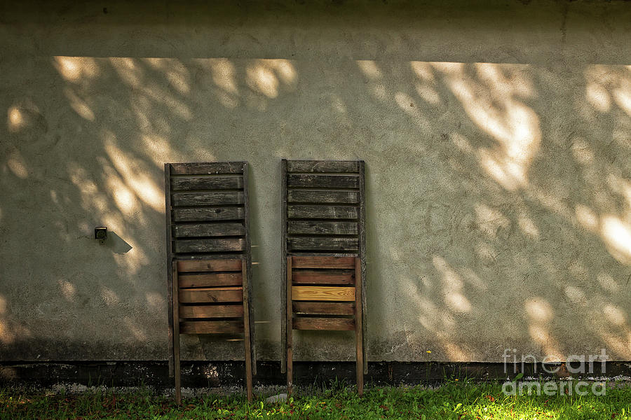 Copy Space Photograph - Two Folded Sun Chairs by Jukka Heinovirta