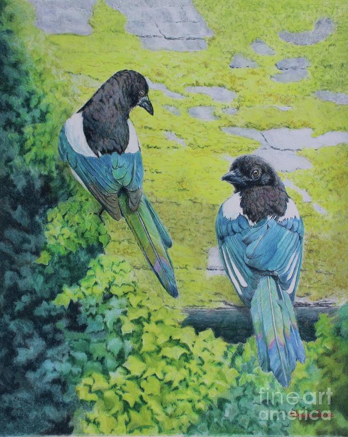 Two for Joy Magpie Portrait by Elaine Jones