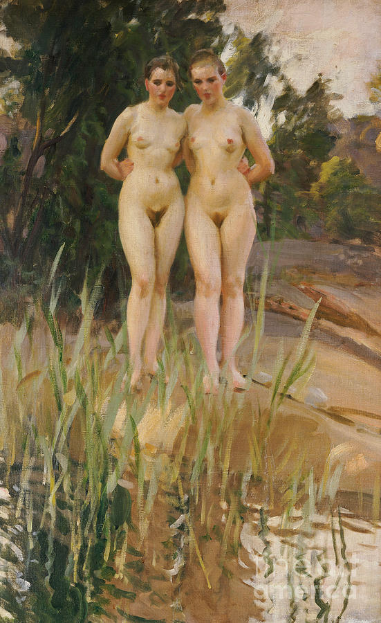 Nude Painting - Two Friends  by Anders Leonard Zorn