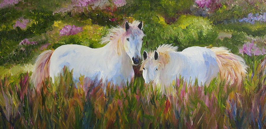 Horse Painting - Two Friends by Mary Jo Zorad