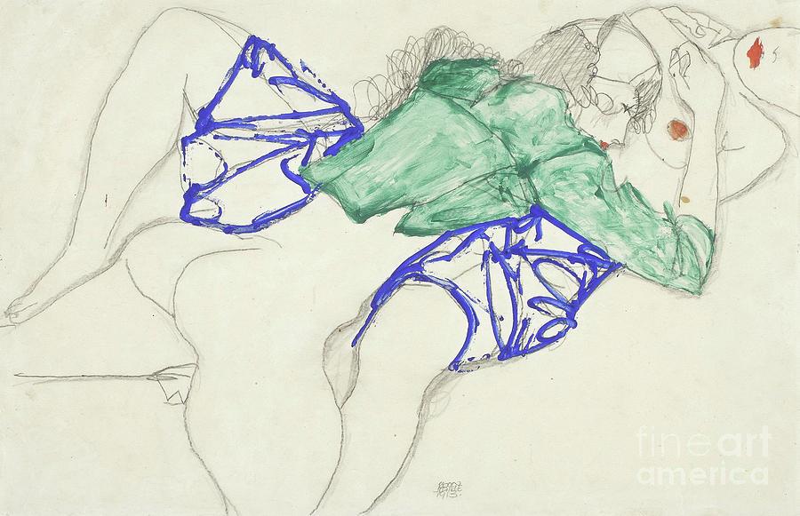 Schiele Drawing - Two Friends, Reclining   Tenderness by Egon Schiele