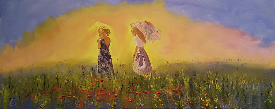 Two Friends Walking In The Field by Russell Collins