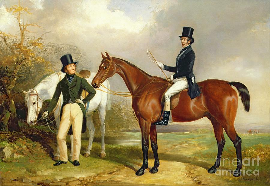 Two Painting - Two Gentlemen Out Hunting  by Henry Barraud