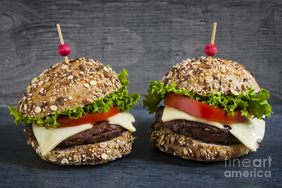 Hamburgers Photograph - Two Gourmet Hamburgers by Elena Elisseeva