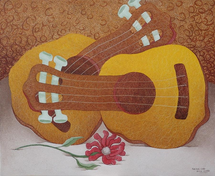 Two Guitars Painting by S A C H A -  Circulism Technique
