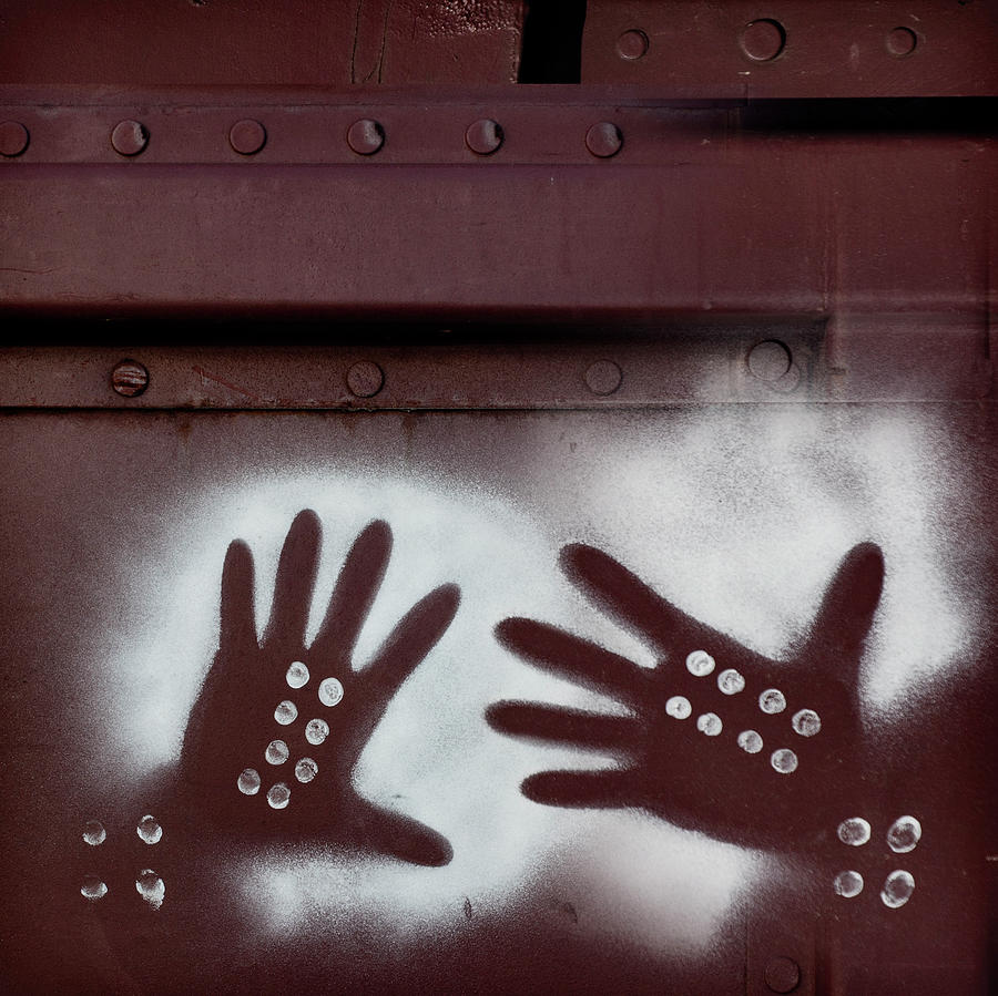 Hands Photograph - Two Hands On A Train Graffiti by Carol Leigh