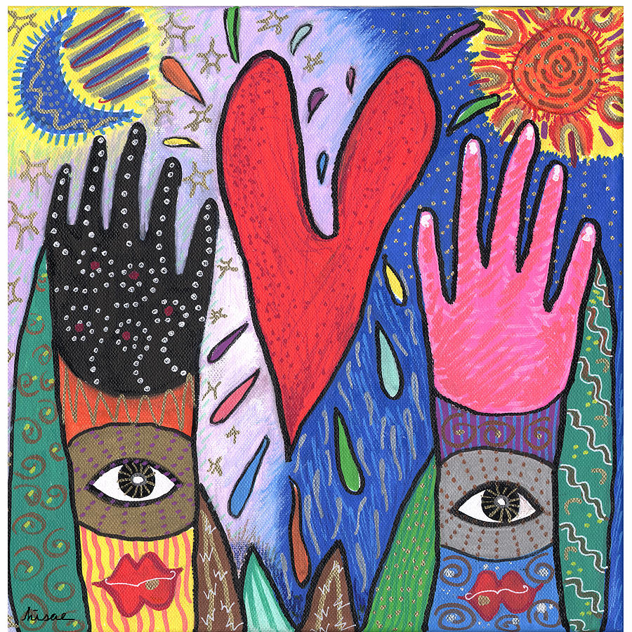 Multicultural Painting - Two Hands by Sharon Nishihara